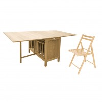 Set masa plianta cu 6 scaune Cucina, bucatarie, natur, 2C