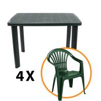 Set masa Fareto + 4 scaune Altea, pentru gradina, verde, din plastic