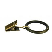 Inel galerie, fier forjat, cu clema, negru auriu, 16 mm, 10 buc / set