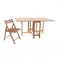 Set masa plianta Patio cu 6 scaune tapitate Igor, bucatarie, nuc + maro