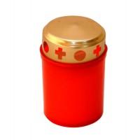 Candela tip 100-72 H, plastic + capac metal, h 9 cm, rosie