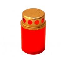 Candela tip 50-24 H, plastic + capac metal, h 8 cm, rosie