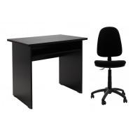 Birou calculator Pitic, magia + scaun birou ergonomic Golf, negru