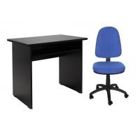 Birou calculator Pitic, magia + scaun birou ergonomic Golf, albastru deschis