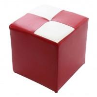Taburet Cool tip cub, fix, patrat, imitatie piele diverse culori, 35 x 35 x 36 cm