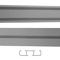 Sina aluminiu 150 cm, gri, 1/2 canale, prindere pe tavan, pentru perdea si draperie