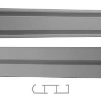 Sina aluminiu 200 cm, gri, 1/2 canale, prindere pe tavan, pentru perdea si draperie