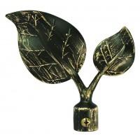 Cap galerie, frunza, 19 mm, negru auriu