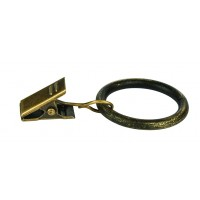 Inel galerie, fier forjat, cu clema, negru auriu, 20 mm, 10 buc / set