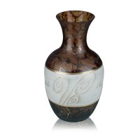 Vaza sticla decorativa, Daphne 12/14, maro + crem + auriu, pictata manual, D 15 cm, H 25 cm