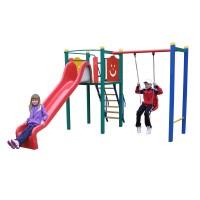 Tobogan copii, cu leagan si scara, TDPH.01.01, structura metalica, 480 x 210 x 220 cm