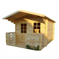 Casuta pentru gradina, cu fereastra, Clara, cu terasa, lemn, 280 x 400 cm