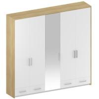 Dulap dormitor Stefan DS5, diverse culori, 5 usi, cu oglinda, 253.5 x 55 x 220 cm, 4C