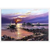 Tablou dualview, Barca cu panze la malul apei, canvas, 60 x 90 cm