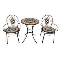 Set masa rotunda, cu 2 scaune, pentru gradina YLM5029, din metal cu mozaic