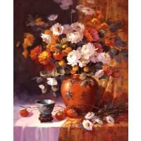 Tablou Canbox CB4050/00003, compozitie cu flori, canvas + rama MDF, 40 x 50 cm