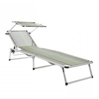 Sezlong plaja WHZR-005 pliabil structura metal protectie solara gri 188 x 60 x 28 cm