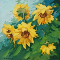 Tablou Canbox CB6060/00015, compozitie cu flori, canvas + rama MDF,  60 x 60 cm