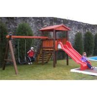 Tobogan copii, cu leagan si scara, structura lemn, 464 x 417 x 300 cm