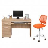 Birou calculator Beta, stejar sonoma + scaun birou operational Carnation, portocaliu