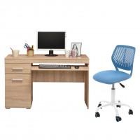 Birou calculator Beta, stejar sonoma + scaun birou operational Carnation, albastru
