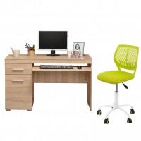 Birou calculator Beta, stejar sonoma + scaun birou operational Carnation, verde