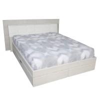 Pat dormitor Allegro, matrimonial, tapitat, cu sertar, crem, 160 x 200 cm, 5C