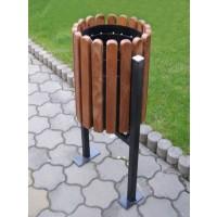 Cos gunoi din metal si lemn, forma cilindrica, maro, 40L