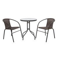 Set masa rotunda, cu 2 scaune, pentru gradina Bistro 331.280, din metal cu ratan sintetic