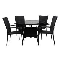 Set masa rotunda, cu 4 scaune, pentru gradina Haiti, din metal cu ratan sintetic