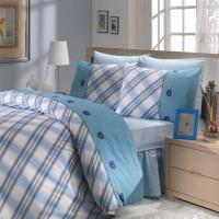 Lenjerie de pat, 2 persoane, Ranforce Energy, bumbac 100%, 4 piese, alb + bleu
