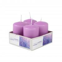 Lumanare decorativa AMS9977, tip stalp, violet, aroma lavanda, 60 / 40 mm, set 4 bucati