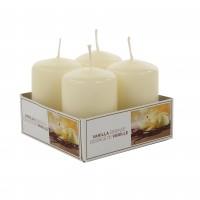 Lumanare decorativa AMS9975, tip stalp, crem, aroma vanilie, 60 / 40 mm, set 4 bucati