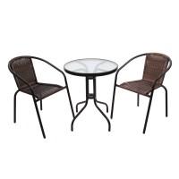 Set masa rotunda, cu 2 scaune, pentru gradina Bistro WR1215, din metal cu ratan sintetic