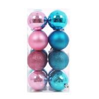 Globuri Craciun, roz + albastru, diametru 6 cm, set 16 bucati, N3/6016ABYHA