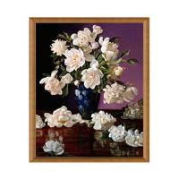 Tablou TI00506, compozitie cu flori, canvas + rama MDF, 40 x 50 cm