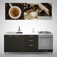 Bucatarie Print Venus V11, wenge + print cafea, 200 cm, 9C
