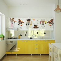 Bucatarie Print Celine C1, galben lucios + print catei, 260 cm, 12C