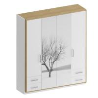 Dulap dormitor Stefan DS7.1, diverse culori + print, 4 usi, 207 x 55 x 220 cm, 4C
