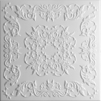 Tavan fals decorativ, polistiren extrudat, C2061, clasic, alb, 50 x 50 x 0.3 cm