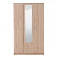 Dulap dormitor Hana 3K2FO, stejar sonoma, 3 usi, cu oglinda, 120 x 52 x 205 cm, 3C