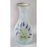 Vaza sticla decorativa, Lavanda 13/171, alb, pictata manual, H 23 cm