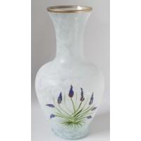 Vaza sticla decorativa, Lavanda 5/171, alb, pictata manual, 32 x 10 cm