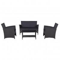 Set masa cu 2 fotolii si 1 canapea, cu perne, pentru gradina Cordova, din metal cu ratan sintetic