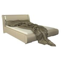 Pat dormitor Iris, matrimonial, tapitat, crem, 160 x 200 cm, 4C