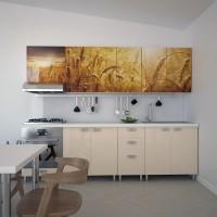 Bucatarie Print Celine C41, bej lucios + print spic de grau, 260 cm, 12C