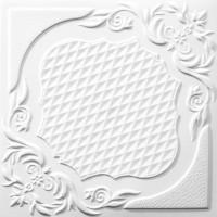 Tavan fals decorativ, polistiren extrudat, C2067, clasic, alb, 50 x 50 x 0.3 cm