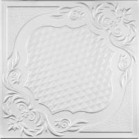 Tavan fals decorativ din polistiren, C2067, clasic, alb, 50 x 50 x 0.3 cm