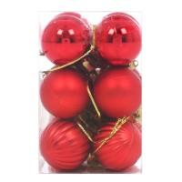 Globuri Craciun, rosii, D 3 cm, set 12 bucati, SYCB15-237