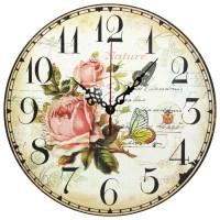 Ceas perete 28091, analog, rotund, din lemn, diametru 28 cm